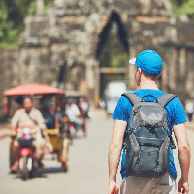 Traveller explores Angkor Wat in Cambodia.